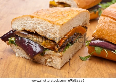 Pressed Eggplant and Pepper Sandwich - stock photo