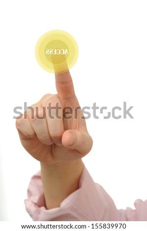 Pressing access key - stock photo