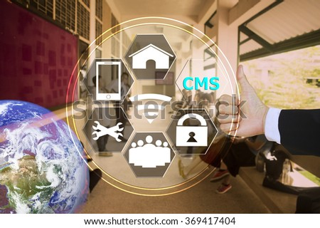 pressing like content management system (CMS) with decorated l detail, vitage tone , image element furnished by NASA