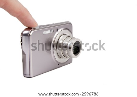 Pressing the button of a camera