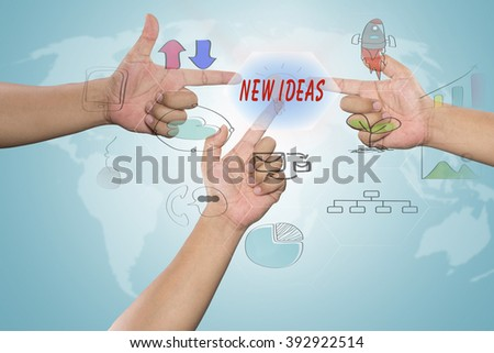 "pressing touch screen interface and select ""NEW IDEAS"", business concept , business idea"