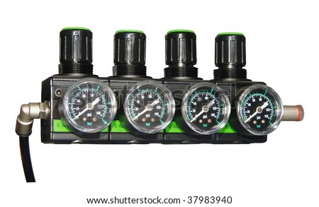 pressure barometer, isolated on white