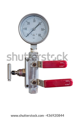 Pressure gauge and fitting with double block and bleed valve manifold isolate on whit with clipping path - stock photo