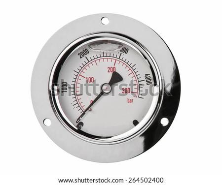 Pressure gauge crome metal iron - stock photo