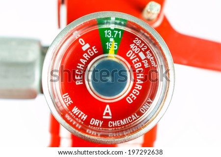 Pressure gauge for fire extinguisher - stock photo