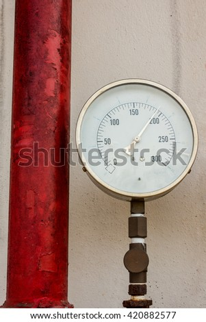Pressure gauge for measuring pressure of fire protection system.
