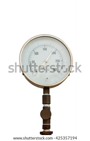 Pressure gauge for measuring pressure of fire protection system on isolate white background. - stock photo