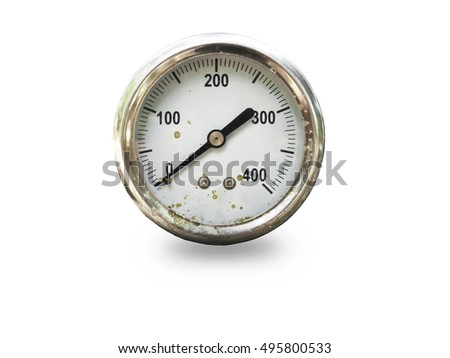Pressure gauge in air isolated on white background,