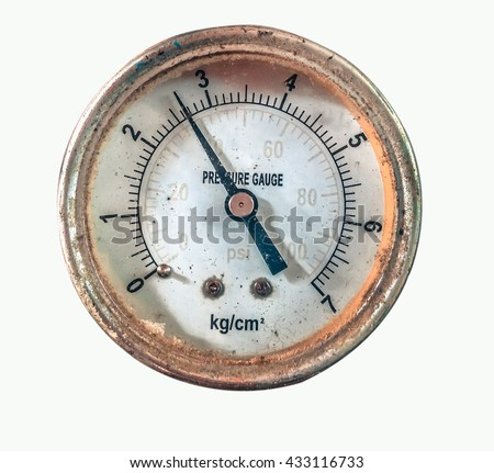Pressure gauge in air isolated on white background, Pressure gauge in production process and old obsolete technology, electronic equipment Industry background.
