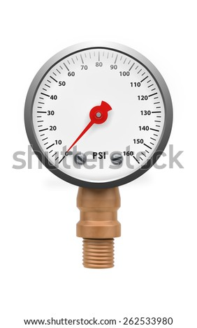 Pressure gauge isolated with clipping path on white - stock photo