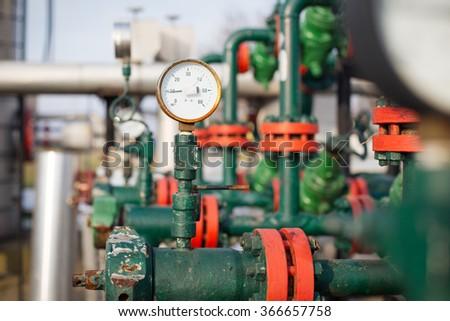 Pressure gauge measuring instrument close up - stock photo