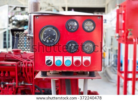 Pressure gauge panel of fire pump. - stock photo