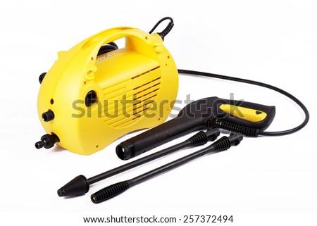 Pressure washer | car wash | yellow | isolated - stock photo