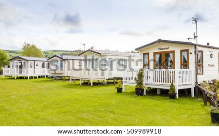 Prestatyn, North Wales, United Kingdom. September 10 2015: Typical British static caravan holiday park Wales  United Kingdom.