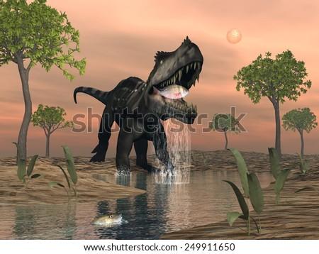 Prestosuchus dinosaur fishing among macrotarniopteris and glossopteris plant by sunset - 3D render - stock photo