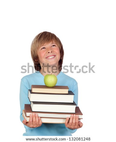Preteen boy with a many books looking up isolated on white background - stock photo