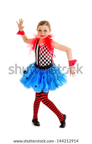 Preteen Girl Circus Performer as a Jester in A Crooked Abstract Stance - stock photo