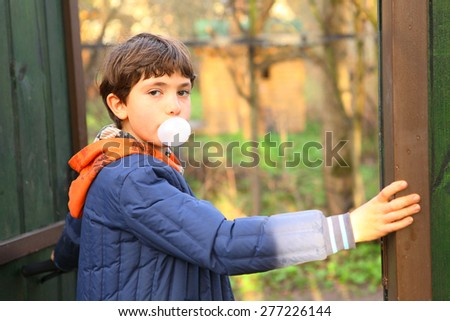 preteen handsome boy with chewing gum bubble close up country portrait - stock photo