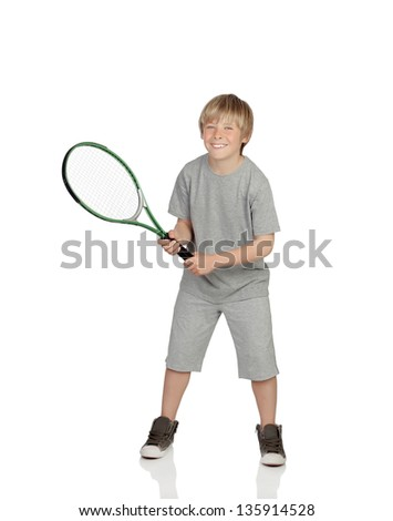 Preteen playing tennis holding racket isolated on white background - stock photo