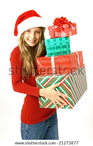 Preteen with christmas hat and gifts