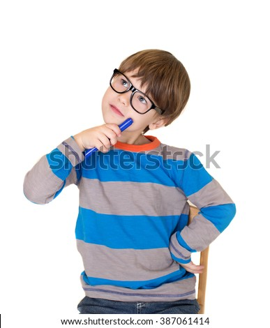 Pretend Play: child pretending to be a teacher, child thinking, education and learning concept - stock photo