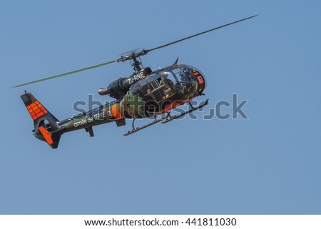 PRETORIA, SOUTH AFRICA-JUNE 11 2016: An ex-military Gazelle helicopter hovering  at the Airlink Adrenaline Airshow at Wonderboom Airport.