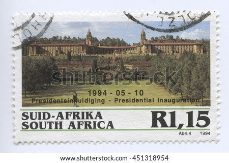 PRETORIA, SOUTH AFRICA - MAY 10 : Stamp of the Presidential Inauguration.10 May 1994 in Pretoria, South Africa. A famous event and popular political landmark - stock photo