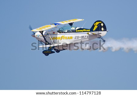 PRETORIA, SOUTH AFRICA -SEPT. 23: The Goodyear Eagles Aerobatic Team at the African Aerospace & Defence show on Sept. 23, 2012 at AFB Waterkloof in Pretoria. - stock photo