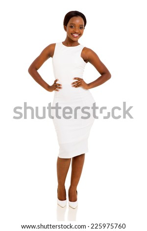 pretty african american businesswoman posing on white background - stock photo