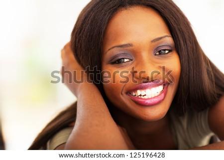 pretty african american girl headshot closeup - stock photo