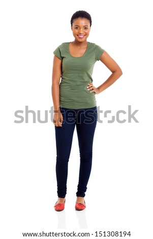pretty african american girl isolated on white background - stock photo