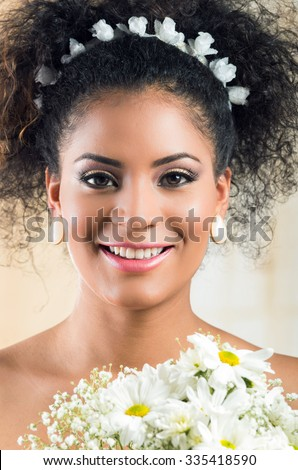 Pretty African American smiling curly bride closeup portrait - stock photo