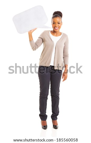 pretty african american woman holding blank speech bubble isolated on white background - stock photo