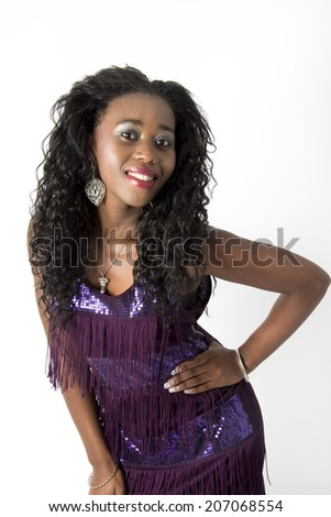 Pretty African American woman in a gorgeous evening dress