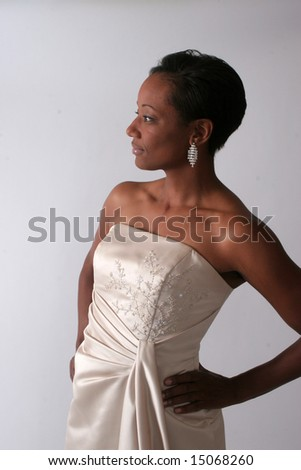 Pretty African American woman looking left - stock photo