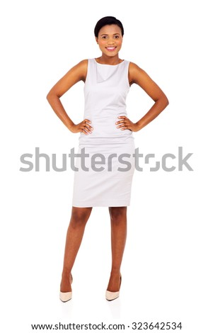 pretty african american woman posing on white background - stock photo
