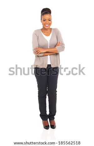 pretty african american woman with arms folded isolated on white