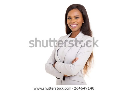 pretty african businesswoman with arms crossed on white background - stock photo