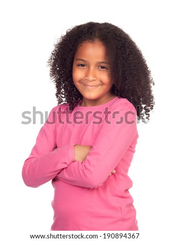 Pretty african girl isolated on a white background