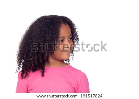 Pretty african girl isolated on a white background - stock photo