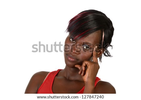 Pretty African Girl thinking, Studio Shot, Cameroon - stock photo