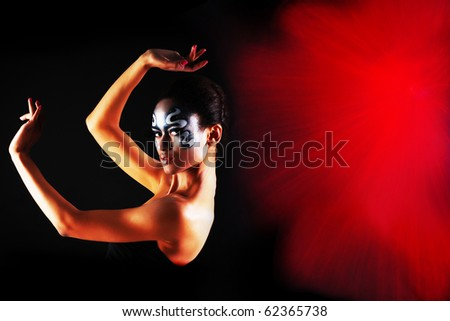 Pretty african girl with body-art - stock photo