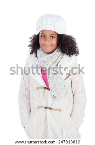 Pretty african girl with winter clothes isolated on a white background - stock photo
