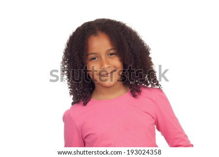 Pretty afro-american girl isolated on a white background