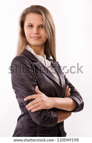 Pretty and confident business woman - stock photo