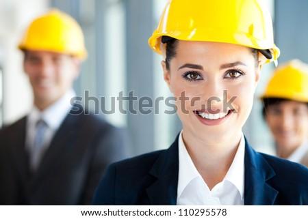 pretty and smart construction businesswoman closeup - stock photo