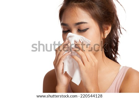 Pretty Asian girl has flu and fever  isolated on white background - stock photo