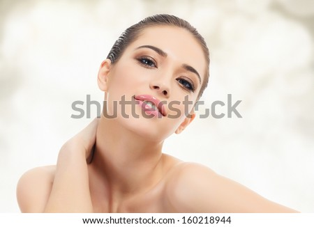 Pretty asian woman against an abstract background  - stock photo