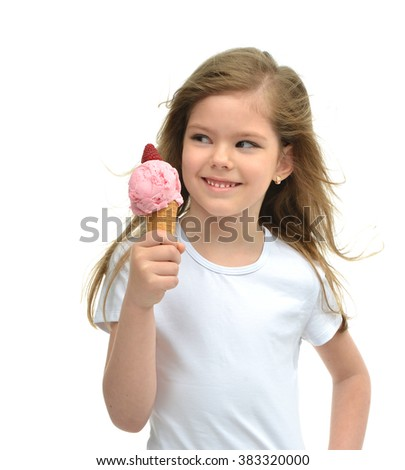 Pretty baby girl kid holding ice cream in waffles cone with raspberry showing happy smiling looking at the corner isolated on a white background - stock photo