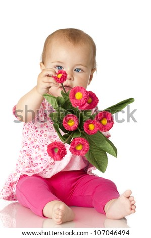 Pretty baby in pink - stock photo